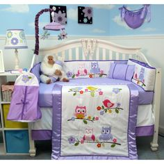 Owls Lavender Party S Baby Crib Nursery Bedding Set 14 Pcs W Diaper Bag New