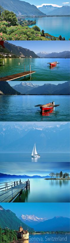 """Lake Geneva, formed by a retreating glacier, has a crescent shape that narrows around Yvoire on the southern shore. It can thus be divided figuratively into the """"Grand Lac"""" (Large Lake) to the east and the """"Petit Lac"""" (Small Lake) to the west. The Chablais Alps border its southern shore, the western Bernese Alps lie over its eastern side. The high summits of Grand Combin and Mont Blanc are visible from some places."""
