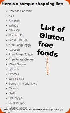 List of Gluten Free Foods helpful shopping list vetted by Dr. David Perlmutter - Grain Brain Wheat Belly Recipes ♥ Grain Brain Diet  -- Please repin -- carbswitch.com