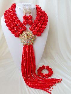 Мода Нигерии Свадьба африканские ювелирных изделий шариков установить Непрозрачный Красный Кристалл ожерелье Свадебные Украшения Наборы Бесплатная доставка OK 285 купить на AliExpress