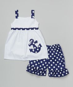 Look at this #zulilyfind! BeMine White & Navy Dot Anchor Dress & Shorts - Toddler by BeMine #zulilyfinds