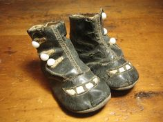 Very Old & Tiny Little Leather High Button Baby Shoes....These are the cutest shoes!!