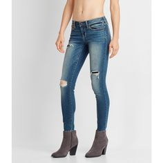 Aeropostale Seriously Stretchy Medium Wash Rip & Repair Ankle Jegging (1.395 CZK) ❤ liked on Polyvore featuring pants, leggings, medium wash, destroyed jeggings, torn leggings, stretchy leggings, stretch jean leggings and jeggings leggings