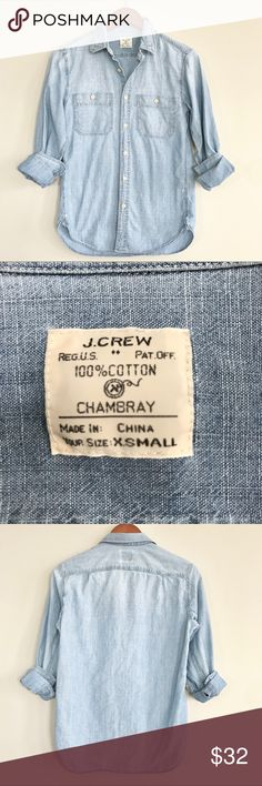 "J Crew Chambray cotton work shirt J Crew Chambray cotton work shirt is in EUC, no flaws, light wash  Bust 17"" across Length 26"" J. Crew Factory Tops Button Down Shirts"