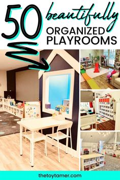 These organized playrooms have been designed using the S.A.N.E. Method. Playroom organization, playroom design, playroom storage and playroom layout Playroom Layout, Small Playroom, Playroom Design, Playroom Ideas, Toy Room Storage, Toy Room Organization, Kids Storage, Storage Ideas, Art Supplies Storage