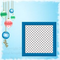 "Layout QP 22A.....Quick Page, Blue, Digital Scrapbooking, Christmas Time Collection, 12"" x 12"", 300 dpi, PNG File Format"