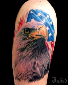 American Eagle by Chad Miskimon #InkedMagazine #eagle #flag #America #tattoo #tattoos #patriotic #art #inked