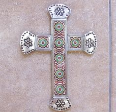 SALE Rustic Mexican decorative wall cross vintage look hand