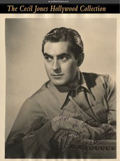 "Tyrone Power - Signed photograph to director Frank Dressler. (ca. 1930s) Vintage original gelatin silver 8 x 10 in. double-weight matte photograph inscribed and signed to director Frank Dressler, ""For Frank with my very best wishes Tyrone Power""."