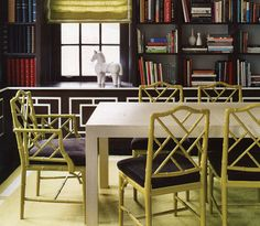 Faux bamboo Chair by Jonathan Adler Elle Decor, Lime Green Rooms, Home Interior, Interior Design, 1950s Interior, Jonathan Adler, Painted Bamboo, Faux Bamboo, Chippendale Chairs