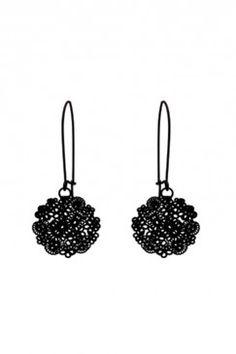 Floral laser cut earrings (black)