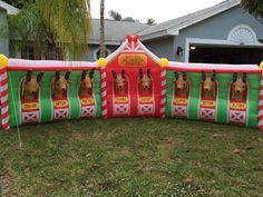 HUGE 17 Ft ~ Santa's Reindeer Stable ~Lighted Christmas Airblown Inflatable Yard