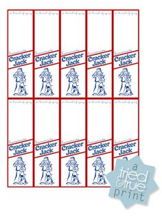 Printable Cracker Jack Labels - perfect for a baseball party