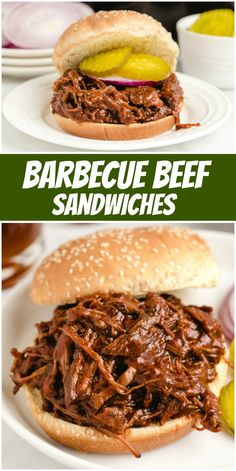 These Barbecue Beef Sandwiches are the best slow cooker shredded beef sandwiches tossed with a delicious sauce and served on toasted buns. Vegetarian Grilling, Healthy Grilling Recipes, Barbecue Recipes, Vegetarian Recipes, Barbecue Sauce, Beef Barbecue, Bbq Sandwich, Sandwich Recipes, Quiche Recipes