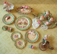 tea set and dishes scale minis Miniature Rooms, Miniature Kitchen, Miniature Furniture, Dollhouse Furniture, Barbie Furniture, Victorian Dollhouse, Tiny Treasures, Mini Things, Miniture Things