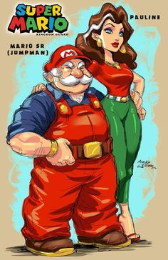 Jumpman and Pauline Classic Cartoon Characters, Cartoon Books, Black Anime Characters, Super Mario Bros, Super Smash Bros Game, Nintendo Characters, Video Game Characters, Mario Fan Art, Nintendo Princess