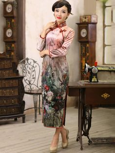 Pink Ankle Length Velour Qipao / Cheongsam / Chinese Dress for Winter