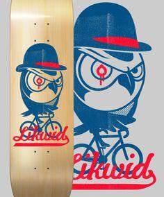 Likwid Skateboards Owl on a bike