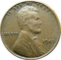 1945 S Wheat Penny - currency