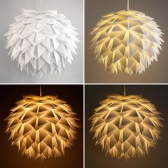 This stunning white folded pendant light would be the perfect statement piece for any home. Constructed from overlapping folded pieces of white paper attached to an existing paper lantern, the overall shade measures 16 inches in diameter (40.6 cm) and can hang from any standard light bulb cord.