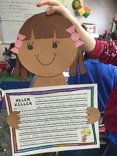 Helen Keller craft and writing activity. We did a fun Braille name writing activity, too! Name Writing Activities, Kindergarten Activities, Classroom Activities, Classroom Ideas, Helen Keller Story, Helen Keller Biography, Biography Project, Teacher Treats, First Grade