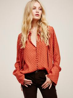 Camilla Christensen || FP Modern Muse Oversized Semi-Sheer Dotted Buttondown Blouse (Autumn Orange Combo)