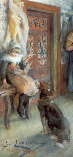 'Peasant Interior In Winter', 1890 (detail) - Carl Larsson | watercolor, paper