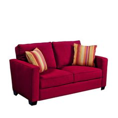 @Overstock - This Portfolio Home Furnishings Madi sofa features transitional squared arms and high-performance crimson red microfiber upholstery. The Portfolio Madi sofa is stain-resistant and includes two striped decorative pillows.  http://www.overstock.com/Home-Garden/Portfolio-Madi-Crimson-Red-Microfiber-Sofa-with-Wine-Striped-Accent-Pillows/5665129/product.html?CID=214117 $455.99