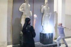 Foto: IS-Anhänger zertrümmern im Museum der Stadt Mossul und an der Grabungsstätte Ninive bedeutende Bildwerke aus der Antike.