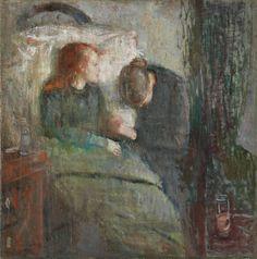 Edvard Munch.  The sick Child, 1885−86, Oil on canvas, 120 x 118.5 cm, Nasjonalgalleriet, Oslo.