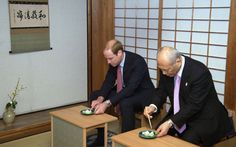 Prince William, Duke of Cambridge takes part in a traditional tea ceremony with Tokyo Governor Yoichi Masuzoe in Hama Rikyu Gardens on the first day of his visit to Japan on February 26, 2015 ino Tokyo, Japan. The Duke of Cambridge is visiting Japan from February 26th to March 1st 2015.