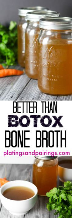 Better than botox bone broth Full of Collagen AMAZING for skin Below is a overview to get you started 2 carrots chopped medium 2 celery stalks chopped medium 1 medium o. Slow Cooker Recipes, Paleo Recipes, Crockpot Recipes, Soup Recipes, Cooking Recipes, Recipes Using Beef Broth, Slow Cooker Bone Broth, Bone Broth Crockpot, Beef Bone Broth