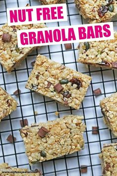 Delicious chewy granola bars made with oats, rice krispies and seeds. Completely nut free and perfect to add to lunch boxes or as an afternoon snack Quinoa Granola Bars, Chewy Granola Bars, Chocolate Granola, Healthy Chocolate, Baby Food Recipes, Snack Recipes, Free Recipes, Vegetarian Meals For Kids, Vegetarian Food