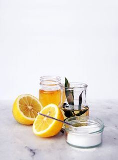 DIY Facial Scrub 1/2 lemon juice 1/2 cup of sugar 1 tablespoon olive oil 1 tablespoon honey Instructions: Whisk together all the liquid ingredients until the mixture has a thick consistency. Add sugar and mix with a spoon. You can add more or less sugar according on how thick you want your scrub to be.