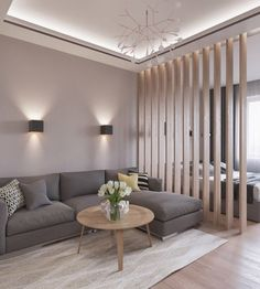 Excellent Contemporary Living Room Decor Idea Try For You 05 Living Room Partition, Living Room Divider, Room Partition Designs, Living Room Lighting, Bedroom Divider, Bedroom Sofa, Apartment Interior, Interior Design Living Room, Modern Interior
