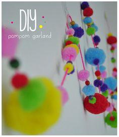 #diy easy craft pompom garland zelf maken - pompom slinger met pompons van de @hema