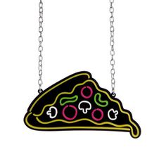 The large neon sign inspired pizza charm is laser cut from acrylic pieces that are then carefully hand assembled. It measures x and hangs from a chunky plated chain. Sun And Moon Tarot, Laser Cut Acrylic, Dangly Earrings, Handmade Items, Handmade Gifts, Laser Cutting, Necklace Lengths, Dog Tag Necklace, Neon Signs