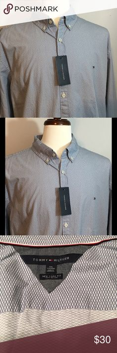 Tommy Hilfiger 2XL Gray Dress Shirt Tommy Hilfiger Men's dress shirt, brand new with Tag. Size XXL. New York Fit. Retails for 64.99. Reasonable offers will also be considered. Please take a look at our page to see our other listings of designer brand apparels! Tommy Hilfiger Shirts Dress Shirts