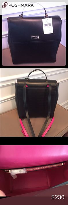 """Kate Spade Black Leather Megyn Backpack New with tag! Hard to find gorgeous black leather Kate Spade backpack with hot pink trim. Inside has zipper pocket. Measures about 11""""H x 10""""W x 5""""D. Smoke free, pet free home. kate spade Bags Backpacks"""