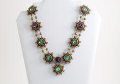 Pacific opal necklace ON SALE at www.madineurope.eu - #pacific #opal #necklace #handmade #accessories #flowers #amethyst #rivolis #swarovski #fashion #summerstyle #onsale #shopping