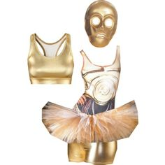 "RunDisney doesn't allow masks, but this would be so fun for the Star Wars races.  ""C3PO Running Costume"" by amymarcum on Polyvore"