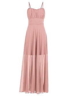Stilvolles Maxi-Kleid im Lagenlook - altrosa