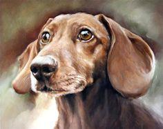 "Daily Paintworks - ""A Dachshund"" - Original Fine Art for Sale - © Carolyn McQuarters"