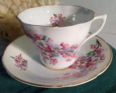 VINTAGE Crownford Pink Flower Fine Bone China Tea by BellesTeaShop, $7.49