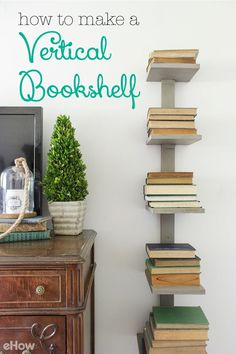 Add a modern yet functional touch to your living room or den with this vertical bookshelf! Full DIY shows you how simple this is to make yourself (and on the cheap!).