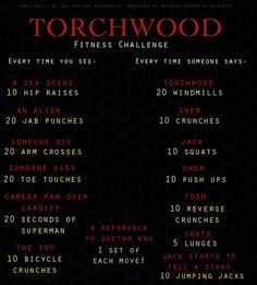 RUN ! torchwood workout | Tumblr SO FUNNY and would really be a workout!!!