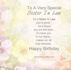To A Very Special Sister In Law Happy Birthday Wishes
