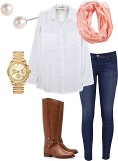 Cream or white shirt, denim jeggings, brown boots, pink scarf