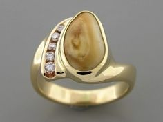Ladies Elk Ivory Ring 14K Yellow gold
