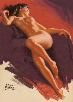 EARL MORAN (American, 1893-1984) Reclining Brunette Pastel on paper 25.5 x 18.25 in. (image) Signed lower left